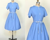 Vintage Day Dress --- 1960s Blue Dress