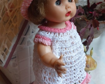Crochet outfit for 10 11 inch R B 50's Walker Doll Bent Knees Dress Set Pearl
