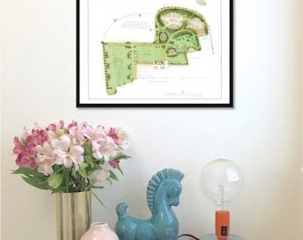 Humphry Repton Garden Design Plan antique reproduction print art