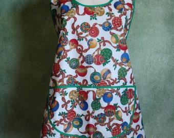 Vintage Style Holiday Apron in Christmas Ornament Print - One Size Fits Most - Ready to Ship