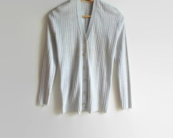 Pearl Gray Lurex, Vintage Cardigan, Ribbed Cardigan, Jane Irwill, Knit Cardigan, 70s Clothing, Metallic Fabric, 1970s Clothing