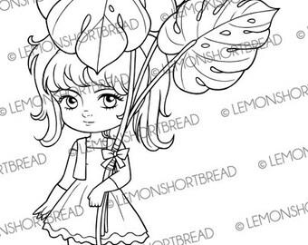 Digital Stamp Summer Monstera Leaves Girl, Digi Download, Leaf, Fantasy, Garden Clip Art, Tropical, Coloring Page, Scrapbooking Suppy