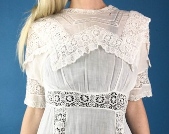 Edwardian 1900s 1910s antique white lawn lace tea wedding dress XS/S