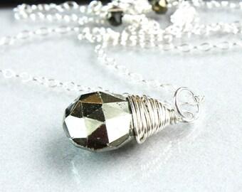 Pyrite  Necklace Sterling Silver Gem Stone Wire Wrappped Chunky Gemstone Jewelry Teardrop Pendant Pyrite Jewelry Stone Necklace Accessories