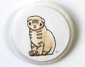 Scottish Fold Cat Painting - Original Wall Art Acrylic Animal Painting on Wood by Karen Watkins - Cute Cat Wall Decor