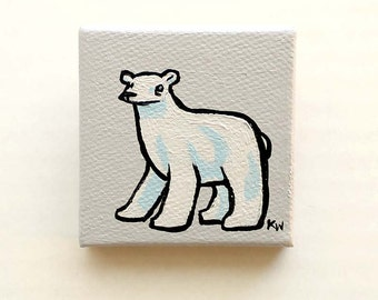 Polar Bear Painting Miniature - Polar Bear Tiny Art - Original Animal Wall Art Acrylic on Mini Canvas 2 x 2 Inches by Karen Watkins