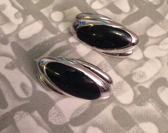 Unique Vintage drop clip on silver black  Earrings signed Monet