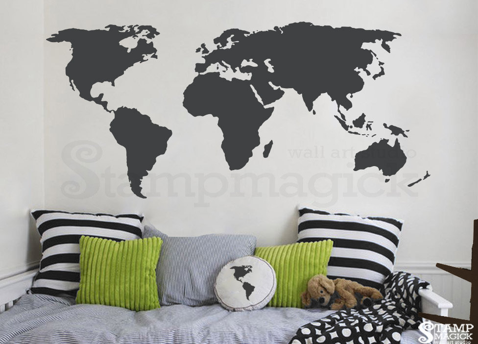 World Map Wall Decal - World Map Decal - Vinyl Wall Art Mural - Chalkboard  white chalk black board dry erase sticker continents - K135DG