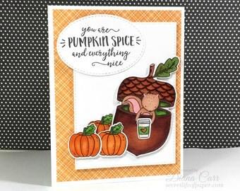 Fall Card w/ Optional Gift Card Pocket - Pumpkin Spice Latte Card, Coffee Gift Card Holder, Starbucks Gift Card Holder, Teacher, Babysitter