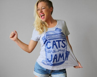 "SALE Ultra Wash Womens Cat Print Shirt ""Cats are my Jam"" back to school cat gray cat lover gift for teen american apparel crazy cat lady"