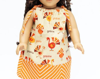 Fits like American Girl Doll Clothes - Gobble Gobble, A Pillowcase Dress