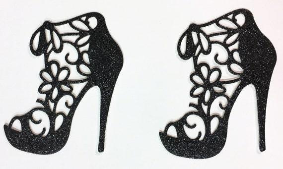Flower Lace High Heel Black Glitter Die Cut - 10 Pieces - Elegant Feminine Embellishment - Scrapbook - Greeting Card Art Craft Mixed Media