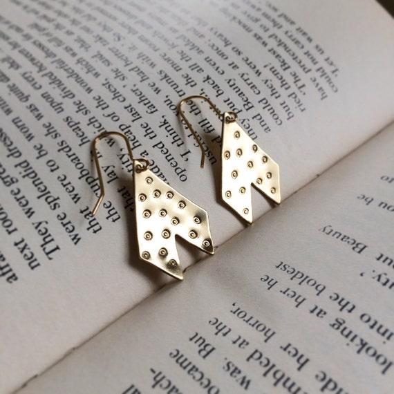 Chevron Fishtail Spotty Earrings in Brass