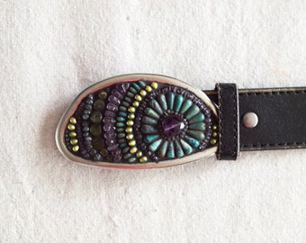 Womens Belt BUCKLE ONLY Mosaic Belt Buckle Colorful Buckle with Amethyst & Semi Precious Stones Unique Gift for Women Gift for Girlfriend