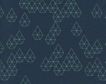 Cotton + Steel Raindrop Geo Drops Teal Navy 100% Cotton Fabric