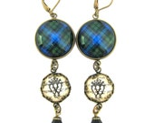 Scottish Tartan Jewelry - Ancient Romance Series - Campbell Ancient Tartan Earrings with Luckenbooth Charms