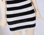 Minifee Doll clothes BJD clothing black stripe pencil skirt mini skirt OR tube top doll clothes MonstroDesigns