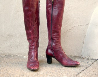 1970s leather boots / FERRAGAMO boots / oxblood burgundy high heel boots / vintage designer boots, Italy / size 6.5 7