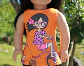 18 inch doll clothes,  girl riding bike graphic print tank top, black ripped leggings, Upbeat petites