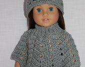 2 piece set 18 inch doll clothes, doll grey sparkle crochet hat & poncho,  Upbeat Petites