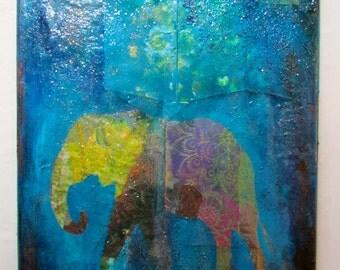 The Elephant mixed media art on canvas