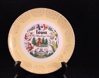 Vintage Iowa Souvenir State Plate with Yellow and Gold Trim