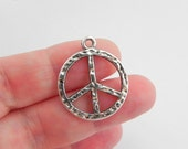 20 Peace Sign Charms in Antique Silver - Hammered Texture - double sided - 23mm