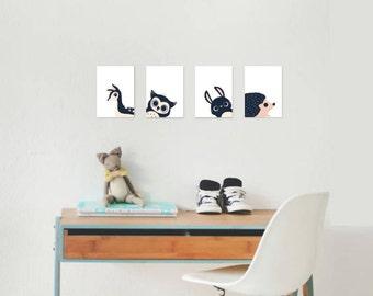 Peeking Animals, Collection of Four 5x7, 8x10, 11x14, Children's Wall Art Prints, Nursery Wall Art, Woodland Animal, Gender Neutral Nursery