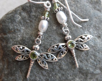 Carefree ... Genuine Peridot, Freshwater Pearl and Sterling Silver Wire-Wrapped Filigree Dragonfly, Boho, August Birthstone Earrings