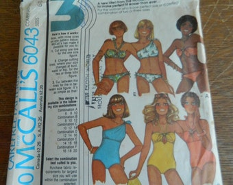 Misses' Set of Bathing Suits and Bikinis Size 6-8-10 cut Vintage 1970s Sewing Pattern-McCall's 6043