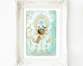 Crowned bird with nest and eggs art print, in blue and gold, A4 giclee