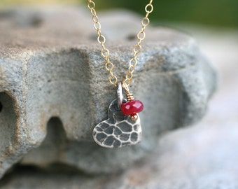 Small Hammered Sterling Silver Heart and Ruby Gemstone Charm, 14KT Gold Filled Necklace