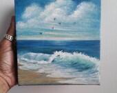 "Oil Painting Sea Seascape Beach Birds Flying 6"" x 6"" Heavy Duty Gallery Wrap Canvas READY to SHIP"