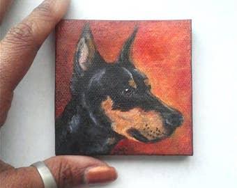 "Mini Oil Painting Doberman Pincher Dog Portrait 3""x 3"" READY to SHIP"