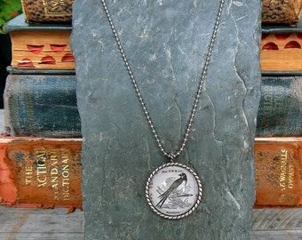 Swallow - vintage dictionary illustration pendant necklace