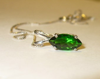 Chrome Diopside Pendant in Solid Sterling Silver - Genuine, Natural Marquis Cut Gemstone