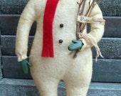 Primitive Wool Snow Boy Snowman Doll