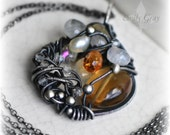 Gemstone Statement Necklace, Champagne Citrine Pendant, Wire Wrapped Pendant, Heirloom Gift for Her, Emily Gray