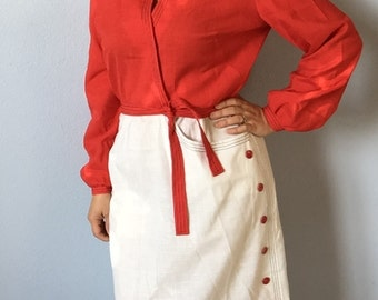 Vintage Dress Large Red and White Herman Marcus Faux Wrap