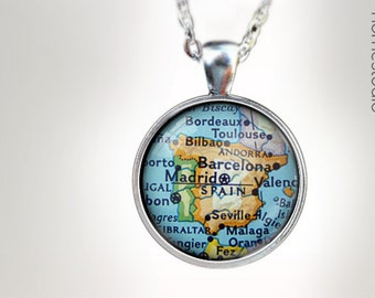 Spain Map : Glass Dome Necklace, Pendant or Keychain Key Ring. Gift Present metal round art photo jewelry HomeStudio. Silver Copper Bronze