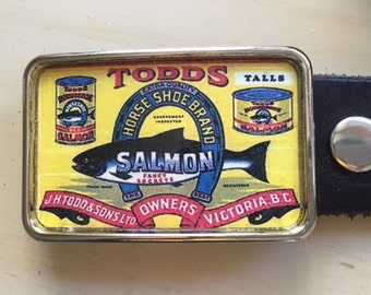 Salmon Fishing Belt Buckle.  Vintage ad.  Birthday Gift for Dad!  Belt buckles for men and women.