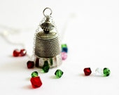 Sterling Silver Thimble Necklace, Vintage Thimble Jewelry, Wire Wrapped, Swarovski Crystals, Metal Bead, Handmade Pendant Jewelry Hendywood
