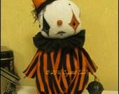 Halloween Clown orange free-standing Doll Whimsical creepy Circus Goth cute country home decor Quirky Primitive doll hafair ofg team