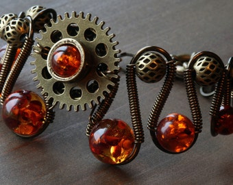 Steampunk Bracelet  - OOAK - Mysterious Amber with Bronze Copper and antiqued metal beads