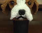 Crochet // Beagle  //  Dog //  Coffee Cozy //  Crochet // Handmade