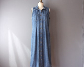 vintage 90s dress / denim shirtdress / sleeveless collar dress / medium