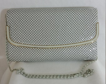 Off-White Metal Mesh Shoulder Bag or Clutch w/ Metal Link Strap and Gold Accents