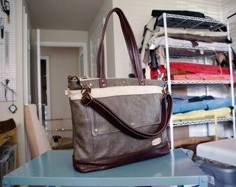 Archive in Smoke, Dark Roast, Wheat, Leather Laptop Bag, Leather Tote, Professional Leather Bag, Attorney Bag, Womens, Made to Order