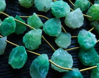 green Rough chalcedony briolette drop beads, hammered chalcedony pendant beads, by BeadsOfBrazil