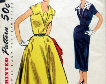 Vintage 1950s Dress Pattern Simplicity 1132 Bust 32 Full Skirt Wiggle Skirt Detachable Collar Rockabilly Dress Pattern